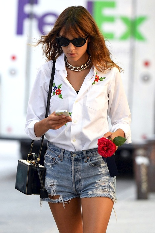 25-Le-Fashion-Blog-40-Of-Alexa-Chung-Best-Looks-With-Denim-Shorts-Chain-Necklace-Embroidered-Floral-Shirt-Mark-Cross-Bag-Jean-Cut-Offs-Via-Vogue