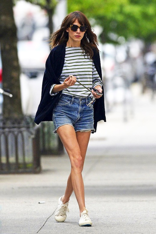8-Le-Fashion-Blog-40-Of-Alexa-Chung-Best-Looks-With-Denim-Shorts-Cape-Jacket-Striped-Tee-Jean-Cut-Offs-Via-Marie-Claire