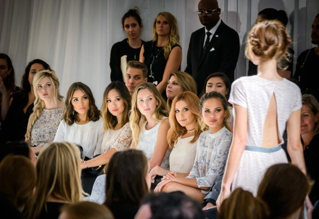 The front row was filled with very-well-known faces, like Ashley Tisdale, Chrissy Teigen, Dylan Penn (Sean Penn and Robin Wright' daughter), Miss USA 2012 champion Olivia Culpo and fashion blogger Amber Fillerup Clark.